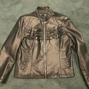 Large women's leather moto jacket